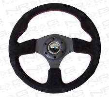 NRG Steering Wheel 320mm Race / Sport Black Suede Red Stitches