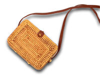 Handwoven Rectangle Ata Rattan Crossbody Bali Bag with faux leather strap