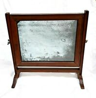 ANTIQUE 1800-1850 WOOD WOODEN FRAME TILTING SHAVING MIRROR WITH SATIN WOOD INLAY