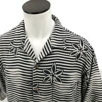 Tommy Bahama Mens Floral Striped Short Sleeve Shirt Size Large 100% Silk