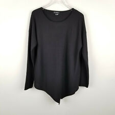 C by Bloomingdales Cashmere Sweater V Neck Asymmetrical Lagenlook Size XL Black