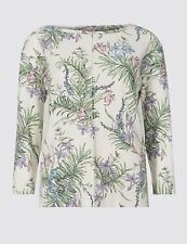 Marks and Spencer Floral Print Round Neck Long Sleeve Top Size 24 Ivory Mix