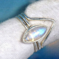 Rainbow Moonstone Solid 925 Sterling Silver Band Ring Handmade Jewelry sd916