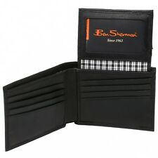 Ben Sherman Kensington Genuine Leather Wallet Passcase Bifold Flip Out Billfold