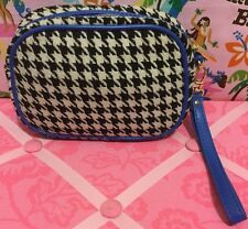 A Very Nice Plaid Blue Black And White Charles & Keith Cosmetic Make-up Bag