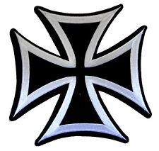 Large Iron Cross Motorcycle Biker Jacket Vest Applique Embroidered Iron on Patch
