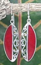 Handmade Sterling Silver .925 Marquise Shaped Red Coral Dangle Earrings w Swirl.