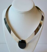 Stunning Sterling Silver Forged Necklace with big black Obsidian signed SH