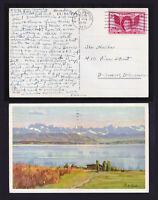 USA SCOTT #962 FRANCIS SCOTT KEY STAMP ON ART POSTCARD GLEN BURNE MD 1948