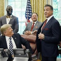 PRESIDENT DONALD TRUMP & ROCKY SYLVESTER STALLONE WHITE HOUSE 8X10 PHOTO POSTER