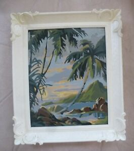 Vintage PBN Paint by Number Original Painting TROPICAL PALM TREES OCEAN USA
