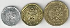 3 DIFFERENT COINS from PERU - 5, 10 & 20 CENTIMOS (ALL DATING 2014)