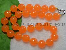 "14mm Natural Rare Orange South America Topaz Jade Round Gems Beads Necklaces 18"""