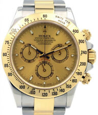 Rolex Daytona Chronograph 18k Yellow Gold & Steel Champagne Dial Watch F 116523