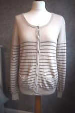 Cashmere Cardigan 14 | Beige & Brown Stripes, With Pockets | Lochmere