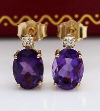 2.50CTW Natural Amethyst & Diamond in 14K Solid Yellow Gold Stud Earrings