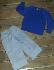1980s Toddler Vintage Gray Pants 3T Blue Sweater 4T Outfit