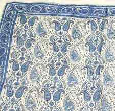 Handmade Paisley Floral Block Print 100% Cotton Scarf 42x42 Blue Casual Formal