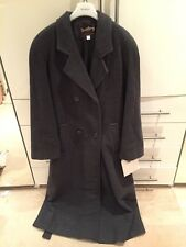 Ladies Long Grey Belted Winter Coat Wool Cashmere Luxury Lined Collared  Size 14