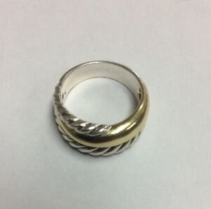 Vintage David Yurman 925 Sterling Silver & 18K Yellow Gold Cable 7.5 Ring