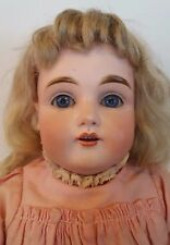 "Antique Kestner JDK German Bisque Doll 19"" Leather Body Crown Streamer Stamp 154"