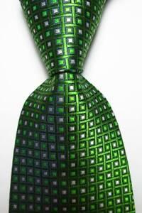 New Classic Checks Green Black White JACQUARD WOVEN 100% Silk Men's Tie Necktie
