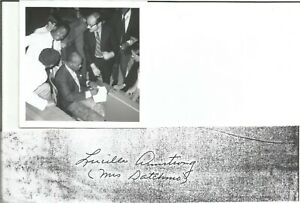 """""""Mrs Satchmo""""  Lucille Armstrong autograph with picture of Louis Armstrong"""