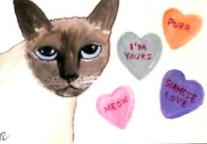 4x6 in MINI print Siamese Cat standing from Original water color painting