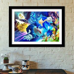 sonic the hedgehog film poster print all sizes modern art deco sega megadrive