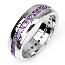 Sterling Silver 925 Genuine Natural Amethyst Channel Set Ring Sz R.5 (US 9)