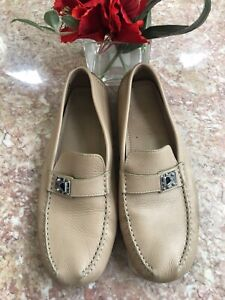 Louis Vuitton Beige Leather Driving Loafers Men's Size 11 EUC! Made in Italy