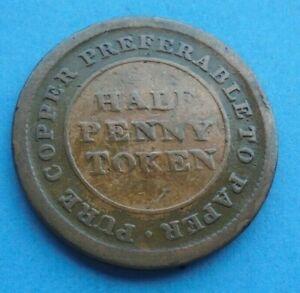 Canadan 1813 Trade & Navigation Copper Halfpenny, as shown.