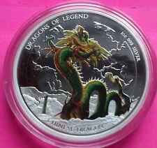 2012 Tuvalu Plata Dragón Chino $1 Un Dollar Moneda De Prueba Caja + certificado De Autenticidad