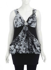 EVANS Embellished Sequin Floral Print Broach Top/Dress 16 Black/Multi