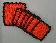 Handmade, Crochet drink Coasters - orange w/ brown trim