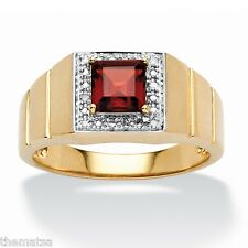 10K GOLD 1.35 TCW SQUARE CUT GARNET DIAMOND ACCENT RING SIZE 9 10 11 12 13