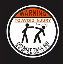 Warning To Avoid Injury Vinyl Hard Hat Lunch box Tool box Helmet Stickers Decal
