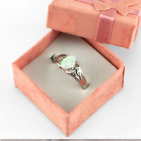 Women Girl White Fire Opal 925 Sterling Silver Gemstone Jewelry Ring 6,7,8,9