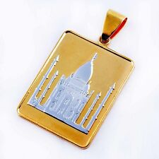 Gold Filled Silver Plated Pendant Castle Pattern fit Long Necklace free ship
