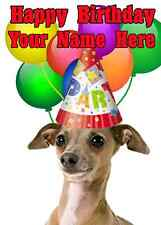 Italian Greyhound Dog Party Card codeigt Birthday A5 Personalised Greeting card