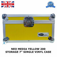 "2 X NEO Yellow Aluminium DJ Carry Case Storage Hold 200 Vinyl 7"" Single Records"