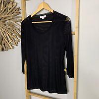 Boo Radley Size XL 16 Women's Black 3/4 Sleeve Top Mesh Stretch