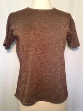 Susan Graver Style Women's Pullover Short Sleeve Top Gold Shimmer Size Small