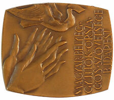 1981 Hungary hands dove stamp collecting PHILATELIC EXPOSITION bronze 54mm