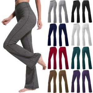 Womens Ladies Yoga Pants Bootcut Sports Gym Run Leggings Flare Trousers Wide Leg