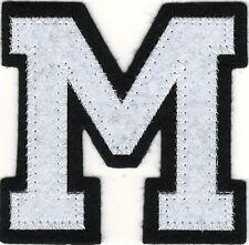 """2 5/8"""" x 2 1/2"""" White Black Block Letterman's Letter M Felt Patch"""