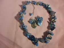 "Blue Shell, Blue Howlite, Faceted Blue Glass Bead Earrings & Necklace 18"" Set"