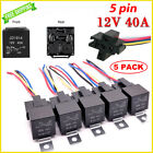12V 30/40 Amp 5-Pin SPDT Automotive Relay with Wires & Harness Socket Set 5 Pack
