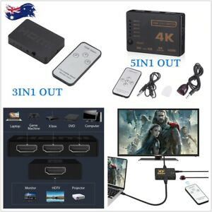 5 Port HDMI Switch Switcher Hub Remote Control Splitter Box 1080p Full HD 4K AU