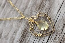 """Victorian gold tone heart frame and chain yellow drop glass 15""""   NECKLACE"""
